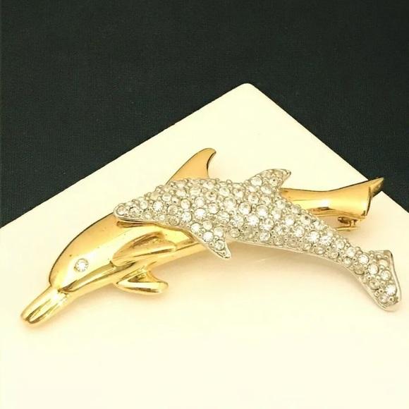Vintage Swarovski Dolphin Pin Crystals 11Y